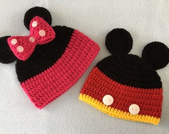 Cute Mickey and Minnie mouse crochet hat/ beanie, Soft red and black kids hat, Disney hat, Soft newborn hat. Custom sizes & colors available