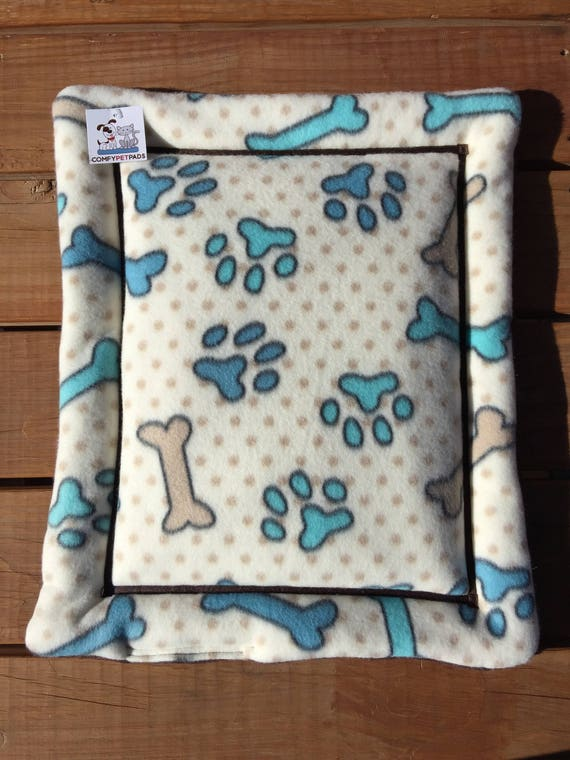 Blue Dog Bed, Small Kennel Mat, Crate Pad, Dog Bones, Paw Prints, Dog House Pads, Kennel Liner, Dog Carrier Pad, Puppy Bedding, Cat Bedding