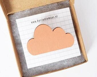 Cloud pin, wood brooch, cloud brooch, pink, for her, gift idea, laser cut jewelry, wood jewellery, simplicity, pink pins, studio maas