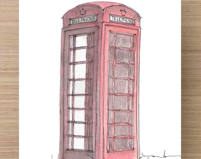 Watercolor Painting of British Red Phone Box - Telephone, Phone Booth, Art, Ink Drawing, Sketch, Watercolor, Art, Pen and Ink, 5x7, 8x10
