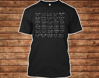 Japan Emoticon Shirt with Funny Kaomojis Design in a Black Unisex Tshirt Gift for Otaku Anime Lovers