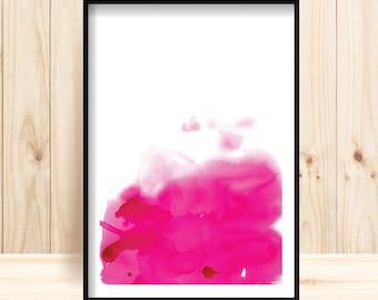 Printable Abstract Art, Magenta Pink Abstract Wall Decor, Pink Watercolor Print, Large Abstract Print, Minimalist Abstract, Abstract Poster