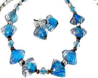Aqua Blue Sea Shell Lampwork bead necklace earrings set, any fittings