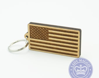 American Flag Keychain - US Flag Carved Wood Key Ring - USA Wooden Engraved Charm - American Flag Keyring - USA Flag Personalized Charm