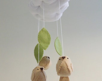 Woodland baby mobile - cloud and bird nursery decor