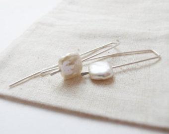 Square pearl earrings - long and modern sleeper earrings