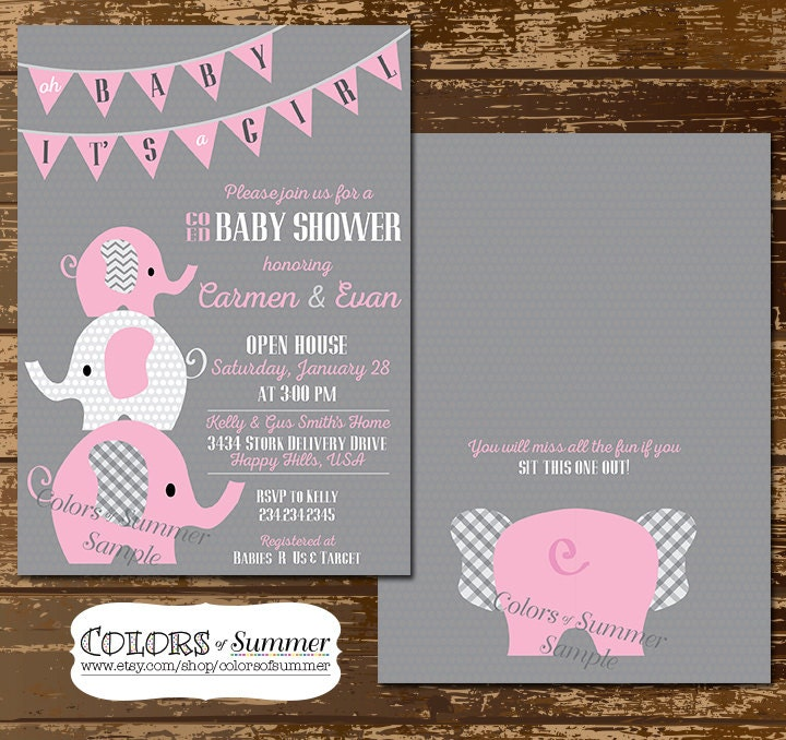 Pink Elephant Baby Shower Invitation Co Ed Baby Shower