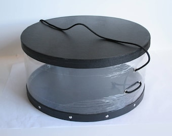 Vintage Round Sturdy Thick Cardboard w Waterproof & clear side hat box 3 Sizes ( Black/Clear )