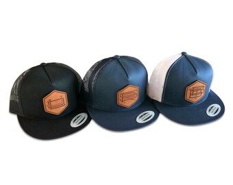 Custom Monogrammed Groomsmen Hats Gift Package, Classic Snapback with Leather Patch, Choose from 2 or 3-Letter Personalized Monogram Design