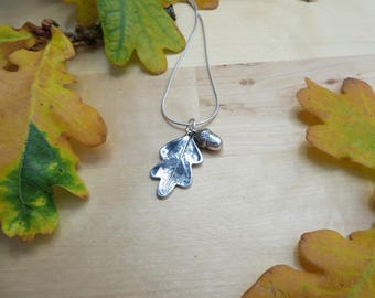 Oak Leaf and Acorn Fine Silver Necklace Autumn Jewellery Fall Jewelry Sterling Silver Gift for Her Woodland Jewelry Tree Leaf Necklace