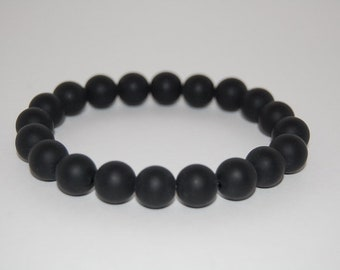 Black Onyx Bracelet,Gemstone 10mm Beads,Onyx Beads Bracelet,Gemstone Stretch Bracelet,Man,Woman,Yoga Bracelet,Onyx Bracelet,Gift