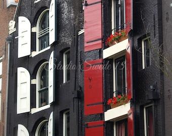 "Amsterdam Photo, Architectural Art, Red and Black Window Art Decor, European Travel Photo, Euro Shutter Window Photo- ""Amsterdam Apartments"""