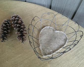 Wire heart/ wedding heart/ wedding basket/ metal wire wedding basket/ wire basket/ advice cards basket/ industrial wedding basket/farmhouse