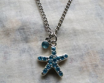 crystal blue starfish necklace