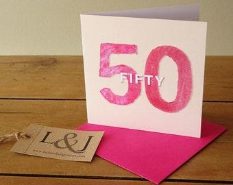 50th Birthday Card, Fiftieth Birthday, Fifty Birthday, 50th Card, 50th Birthday Gift, Fiftieth Card, 50th Birthday Party, 50th Birthday, 50