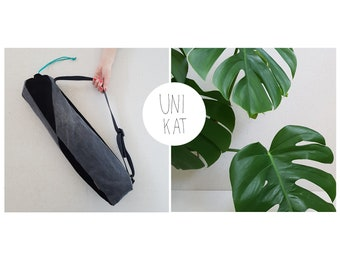 Yoga bag denim Black/yoga mat/tote bag Fair fashion/jeans recycling unique/patchwork/yoga
