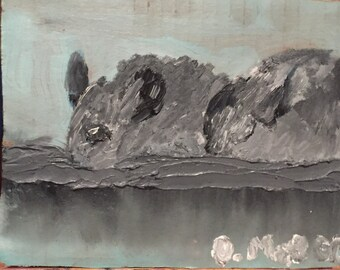 Chinchillas-oil paint on cardboard