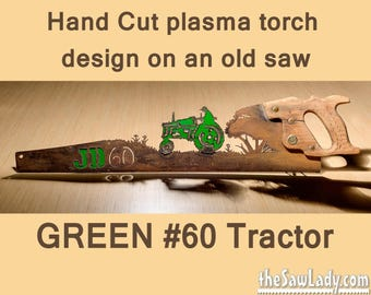 GREEN Metal Art # 60 Tractor Farming - Hand (plasma) cut handsaw | Wall Decor | Garden Art | Recycled Art | Repurposed  - Made to Order
