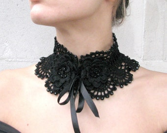 Crocheted BLACK acryilic beads choker/necklace