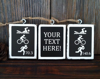 Double Sided Triathlon Ornament 20 Colors Male or Female