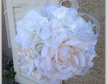 White Kissing ball, pomander, wedding flower girl, flower ball.