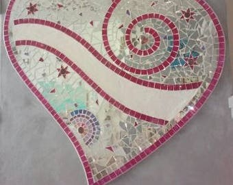 Big Heart Mosaic Glass devotes big heart Panel decor