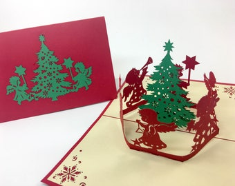 Santa claus christmas card holiday greeting card 3d pop musical tree music christmas card greeting card 3d pop up christmas tree m4hsunfo