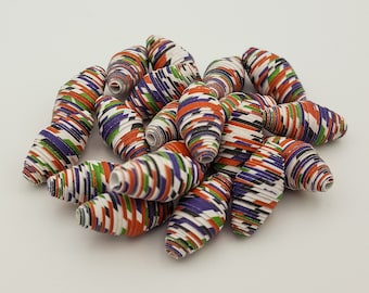 Purple Red White | Paper beads | Paper Bead Jewelry | Recycled Upcycled | Loose Paper Beads | Jewelry Supplies | Beading Supplies | Bicone