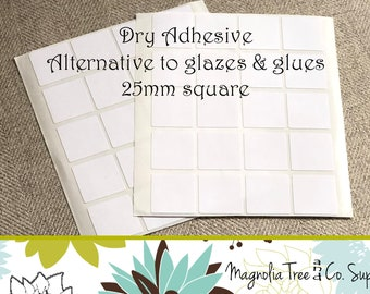 Glass Pendant Adhesive, Alternative to Glue & Glaze, Clear Square double sided adhesive stickers, Stickies, Easy to use 1 inch / 25mm, G005