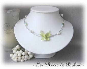 Green and White Butterfly Aglaia 'Child' jewelry, bridesmaid necklace