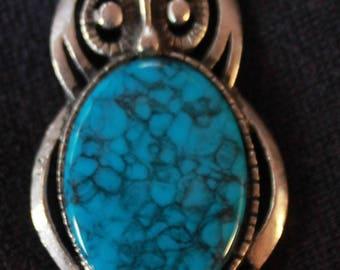 Pewter Finish Owl Pendant Necklace W/ Faux Turquoise
