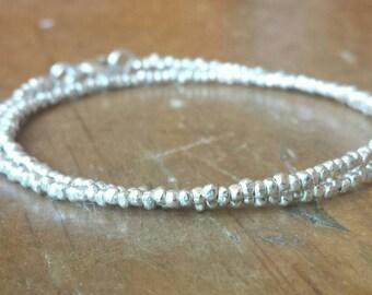 Tiny bracelet, Fine silver, Karen Hill Tribe Silver,  99% pure silver, Minimalist, Everyday, double wrap bracelet