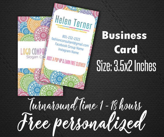 Business cards for fashion consultant vertical printable business cards for fashion consultant vertical printable cards for fashion retailer mandala style consultant graphics reheart Images