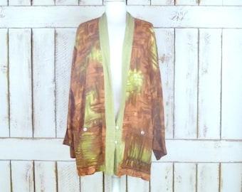 Vintage brown/rust watercolor tye dye boho kimono caftan cover up top/batik flowy gypsy cardigan/robe/lingerie