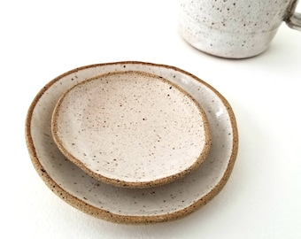 Rustic Ceramic Dishes (Set of 2) | Organic Tableware | Jewelry Dish | Wedding Favors | Trinket Tray | Tea Bag Holder #BWDISH