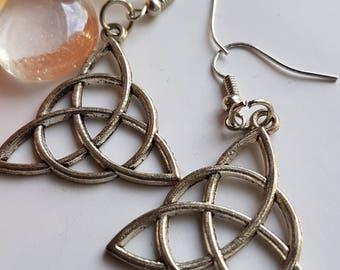 Silver Triangular Dangle Earrings