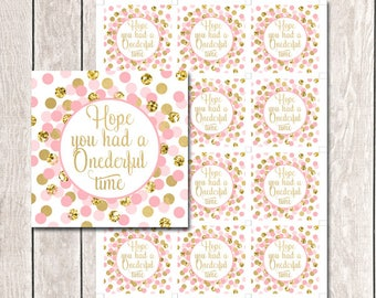 Hope You Had A Onederful Time Tags Printable Pink Gold Favors Tags Baby Shower Or Birthday Party Thank You Favor Tags INSTANT DOWNLOAD
