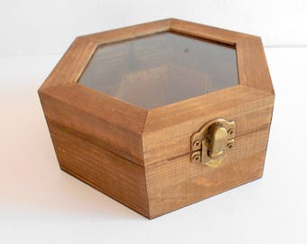 Tea box with glass display- wooden hexagon jewelry box- pine wood keepsake- 7 compartments keepsake- herbs storage box