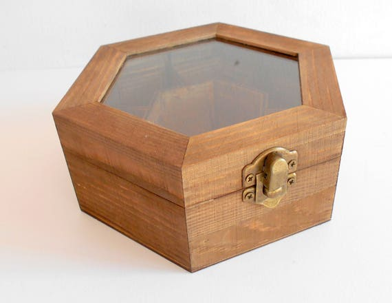 Tea box with glass display wooden hexagon jewelry box pine wood