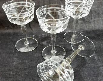 Etched Wine Glass Set of 4, Rose' or Blush Glasses, Vintage 1970s, Formal Stemware, Wine Enthusiast, Collector's Set