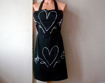 Black Full Apron, Cotton Women's Apron, Wife gift, Mothers day gift idea, Apron for Mom