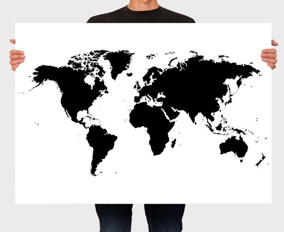 World Map Poster Black and White Personalized Wall Art