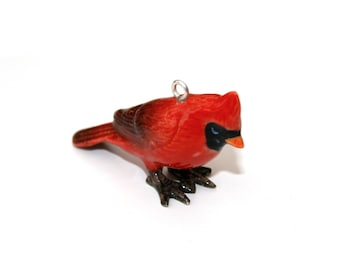 Porcelain Bird Necklace, Red Cardinal Necklace, Animal Necklace