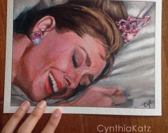Art Print Reproduction // All that Glitters// From Original Acrylic Painting // Movie Art // Audrey Hepburn // 22 cm x 17 cm // Cynthia Katz