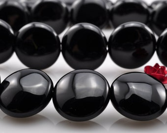 33 pcs of Black Onyx smooth coin beads in 12mm