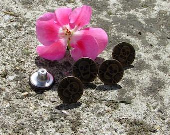 Button x 5 bronze skull nickel 15mm