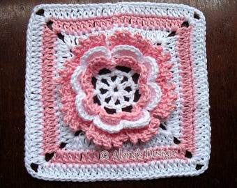 Crochet Pattern 195 - Granny Square Glorious Flower Crochet Patterns 3D Crochet Flower Motif Afghan Block Blanket Pattern Pillow Christmas