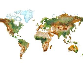 World Map Topography Print