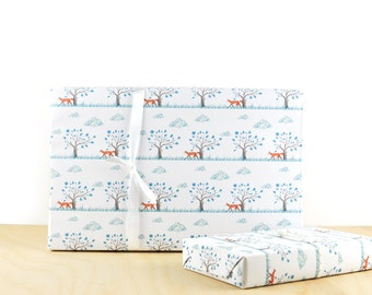 Fox Gift Wrap, Gift Wrap Paper, Designer Wrapping Paper, Holiday Gift Wrap, Fox Art,