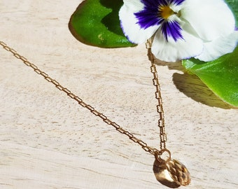 "Gold Filled Necklace and 17mm Swarovski crystal, 18"" - Gold Filled Krinkle Chain, Gold Filled necklace"